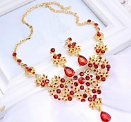 Fashion Red Alloy (Includes Necklace&Earrings) Jewelry Set of 2 (Red)