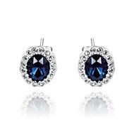 Simple Style Platinum Plated Jewelry Use Shining Blue Austria Crystal Charm Leaf StudEarrings