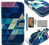 COCO FUN® Blue Puzzle Pattern PU Leather Full Body Case with Screen Protector, Stylus and Stand for Motorala Moto G