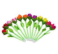 6PCS New Beauty Plush Tulip Flower Pens(Random Color)