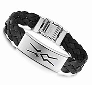 Loom 21.5cm Men Black Leather Stainless Steel Bracelet