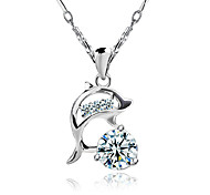 Women's Pendant Necklaces Animal Shape Dolphin Sterling Silver Zircon Cubic Zirconia Luxury Jewelry For