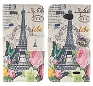 Large Flowers and Tower Design Pu Leather Full Body Case with Stand for LG L70