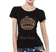 Personalized Rhinestone T-shirts Halloween Pumpkin Pattern Women's Cotton Short Sleeves