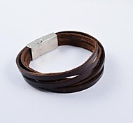 Fashion Men's Multi-turn PU Leather Bracelets Jewelry