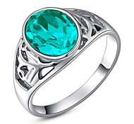 Friends Gift Classic Genuine Austrian Crystals 18K White Gold Plated Blue Stone Ring Jewelry Party OFF