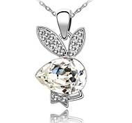 Boy Rabbit Lady's Short Necklace Plated With 18K True Platinum Clear Crystallized Austrian Crystal Rhinestone