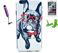 Glasses Dog Pattern PC Hard Case with Stylus Pen and Screen Protector for iPhone 6