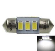 31mm (sv8.5-8) 1.5w 3x5730smd 90-120lm 6000-6500k lumière blanche Ampoule LED pour éclairage de la plaque d'immatriculation de voiture (ac12-16v)