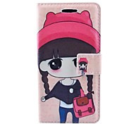 Cartoon Beautiful Girl Pattern PU Leather Case with Stand and Card Slot for Samsung Galaxy Win Pro G3812