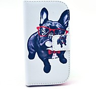 Glasses Dog Pattern PU Leather Case with Stand for Samsung Galaxy S3 MINI I8190