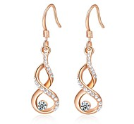 Unique 18K Rose Plated Jewelry Use Shining Clear Austria Crystal Calabash Drop Earrings