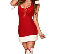 Women's  Festive Lace up Mrs Claus Dress Christmas Costume
