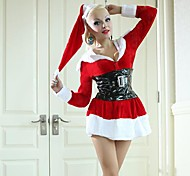 Long Sleeves Waist Dress with Hat Red Adult Christmas Woman's Costume