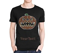 Personalized Rhinestone T-shirts Halloween Pumpkin Pattern Men's Cotton Short Sleeves