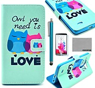 COCO FUN® Fall in Love Owl Pattern PU Leather Full Body Case with Screen Protector, Stylus and Stand for LG G3 D850