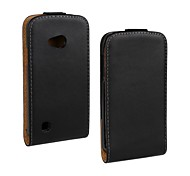 Flip-Open Solid Color Pattern Genuine Leather Full Body Case for LG L50