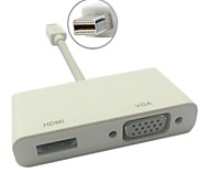 mini DP Mini DisplayPort a VGA / HDMI hembra 2 en 1 adaptador para mac rayo