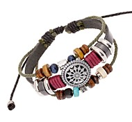 leather Charm BraceletsZ&X®  Vintage Punk Beads Combination Handmade Leather Strand Bracelets Christmas Gifts