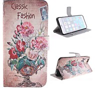 Flowers Potted Landscape Design PU Leather Case with Card Slot and Stand for iPhone 6