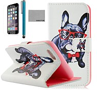 COCO FUN® Glasses Dog Pattern PU Leather Full Body Case for iPhone 6 6G 4.7 with Screen Protecter, Stand and Stylus
