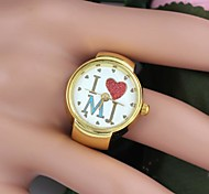 Women's I Love MJ Letter Round-Shaped Alloy Ring Watch Gold(1Pc) Cool Watches Unique Watches