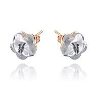 Concise Style 18K Rose Gold Plated Jewelry Use Shining Clear Austria Crystal Charm Flower Stud Earrings