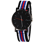Men's Simple Black Dial Stripe Fabric Band Quartz Wrist Watch (Assorted Colors)