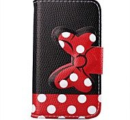White Dots Pattern Bowknot Buckle PU Leather Full Body Case for iPhone 4/4S