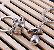 Couples Bottle and Nipples Metal Silver Keychain(Silver)(Pair)