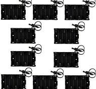 6 x caja de la batería profesional bricolaje aa sin tapa con dc 2.1mm jack de alimentación y el cable de 5 cm (10 piezas)