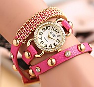 Coway  Geneva Women's Round Golden Dial Diamond Leather  Band Quartz Analog  Braceiet Watch(Assorted Color)