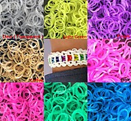 600PCS Glitter Powder DIY Twistz Silicone Rubber Bands for Rainbow Loom Bracelets with S-clips