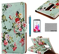 COCO FUN® Flower Green Pattern PU Leather Full Body Case with Screen Protector, Stylus and Stand for LG G3 D850