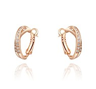Simple 18K Rose Gold Plated Jewelry Use Shining Clear Austria Crystal X Style Hoop Earrings