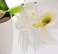 Bohemian Silver Plated Line Dangle Earrings for Women (1 Pair)