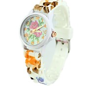 Women's Fashion Colorful Flower Pattern Silicone Band Quartz Wrist Watch Cool Watches Unique Watches