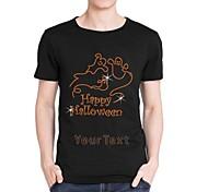 Personalized Rhinestone T-shirts Happy Halloween Boo Pattern Men's Cotton Short Sleeves