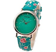 Women's Crystal Dial PU Flower Band Analog Quartz Wrist Watch(Assorted Colors)