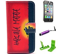Hakuna Matata Pattern PU Leather Case with Screen Protector and Stylus for iPhone 4/4S