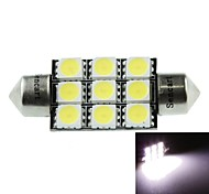 39MM(SV8.5-8) 4.5W 9X5060SMD 280-360LM 6500-7500K White Light for Car Dome lamp(DC12-16V/A Pair)