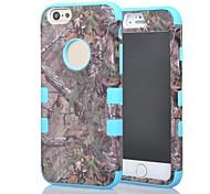 capas triples árbol verde bosque camo suave dura cubierta de la caja híbrida resistente protectora para el iPhone 6 (colores surtidos)