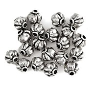 Pumpkin-Shaped Alloy Spacer Beads Accessories Old Sliver(20Pcs)