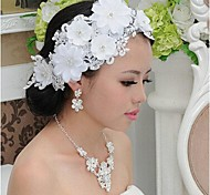 Fashion White Lace (Includes Necklace&Earrings&Hair Stick) Jewelry Set of 3 (White)