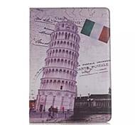 9,7 pouces deux de motif pliage de la tour penchée de Pise pu étui en cuir pour iPad 2 l'air