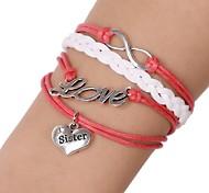 Z&X®  Fashion Handmade Love Sweet Heart Sister Pendant Leather Charm Bracelets