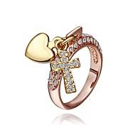 mulheres Moda Rose anéis de moda strass ouro (ouro rosa) (1pcs)