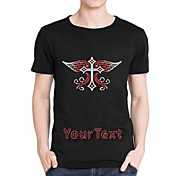 Personalized Rhinestone T-shirts Cross with Wings Pattern Men's Cotton Short Sleeves