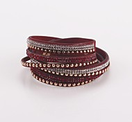 Eruner®New Cuff Lady Bangle Punk Multilayer Leather Rivet Stud Bracelet