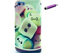 Lovely Cotton Candy Pattern PU Leather Case with Stand and Card Slot for iPhone 5C